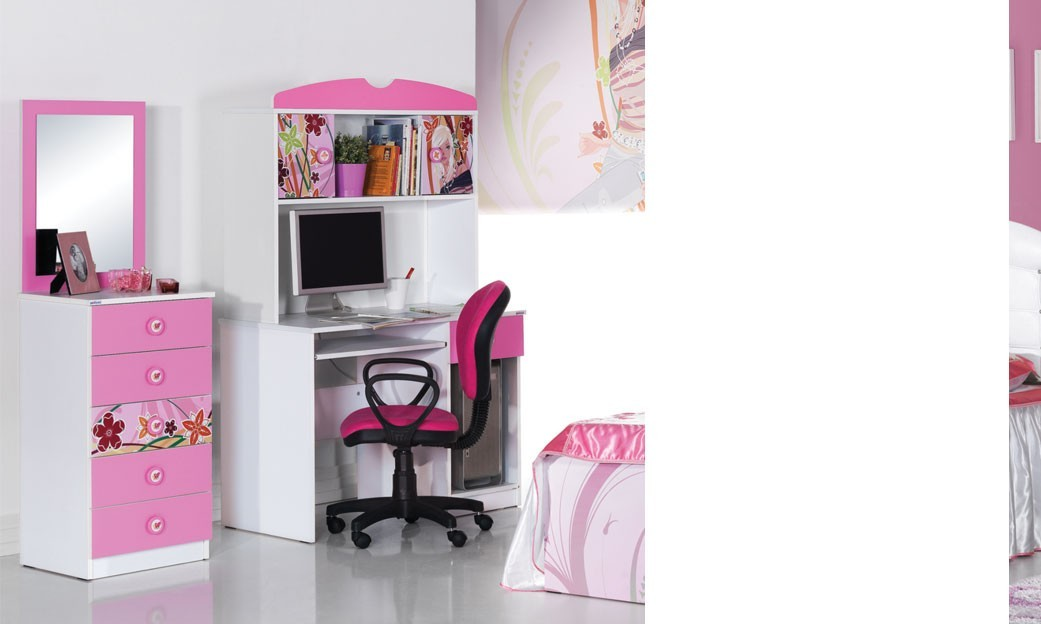Commode coiffeuse fille blanche et rose design CINDY