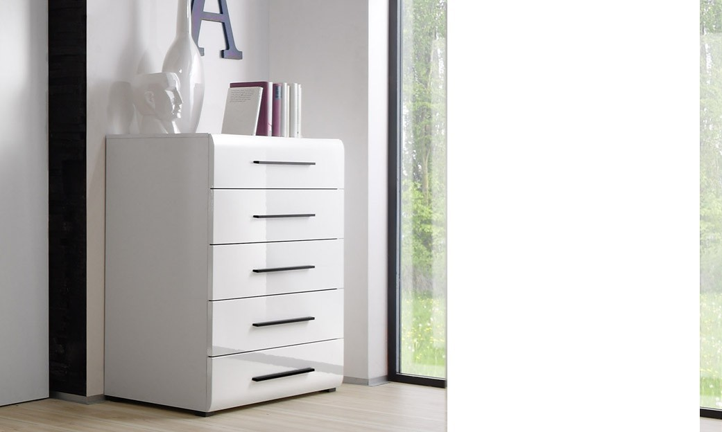 Commode blanc brillant laqué 5 tiroirs design SYBELLE