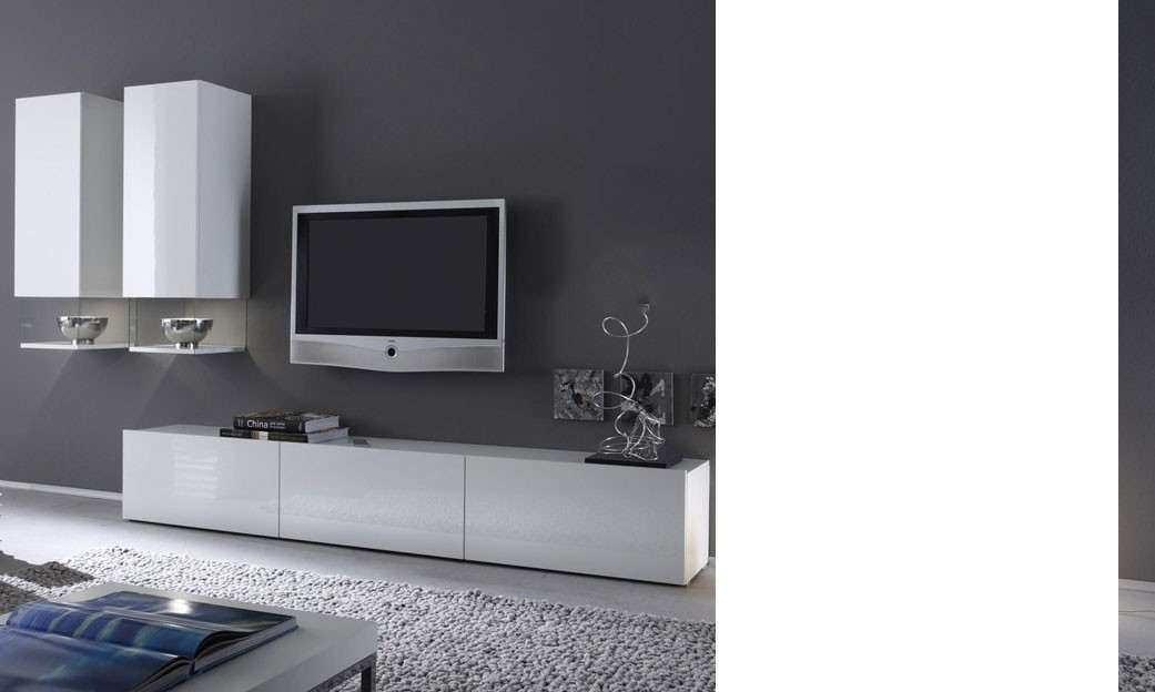 Meuble tv blanc laque for Meuble tele blanc