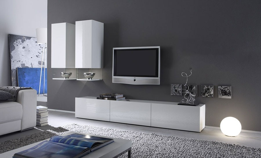 meuble tv blanc laque suspendu. Black Bedroom Furniture Sets. Home Design Ideas
