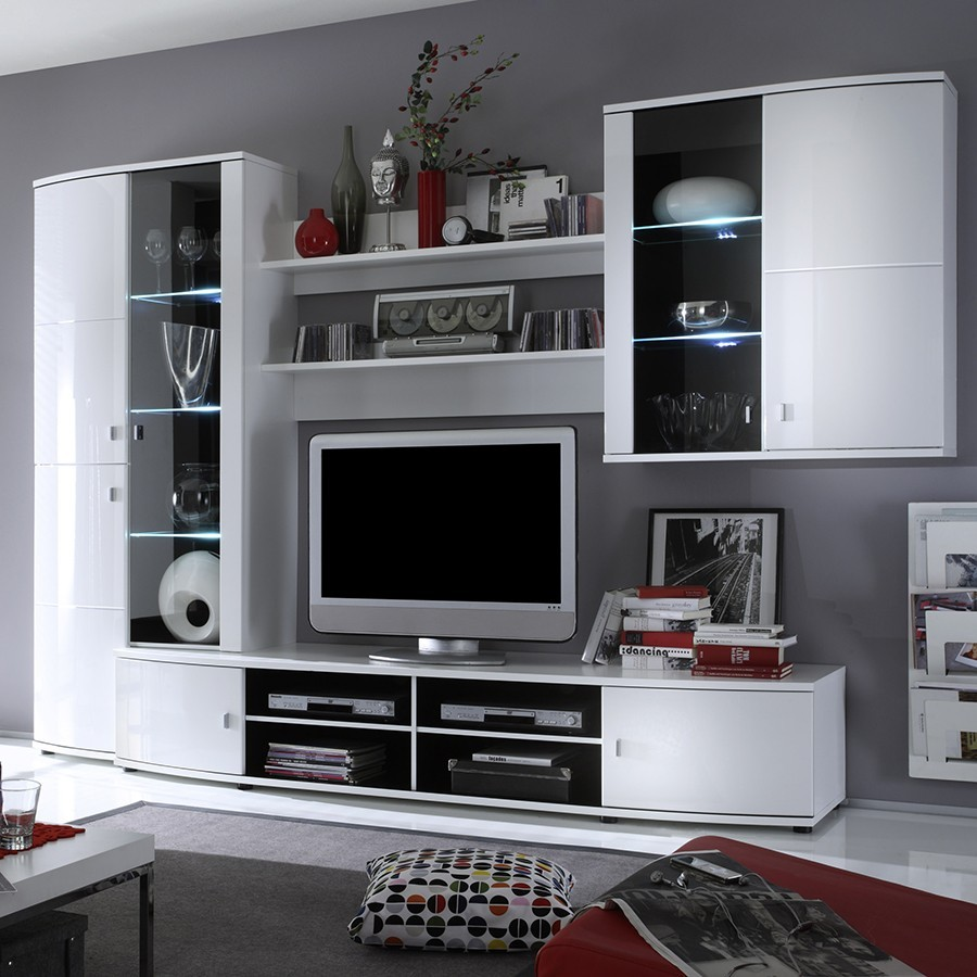 ensemble meuble tv lumineux blanc ganji. Black Bedroom Furniture Sets. Home Design Ideas