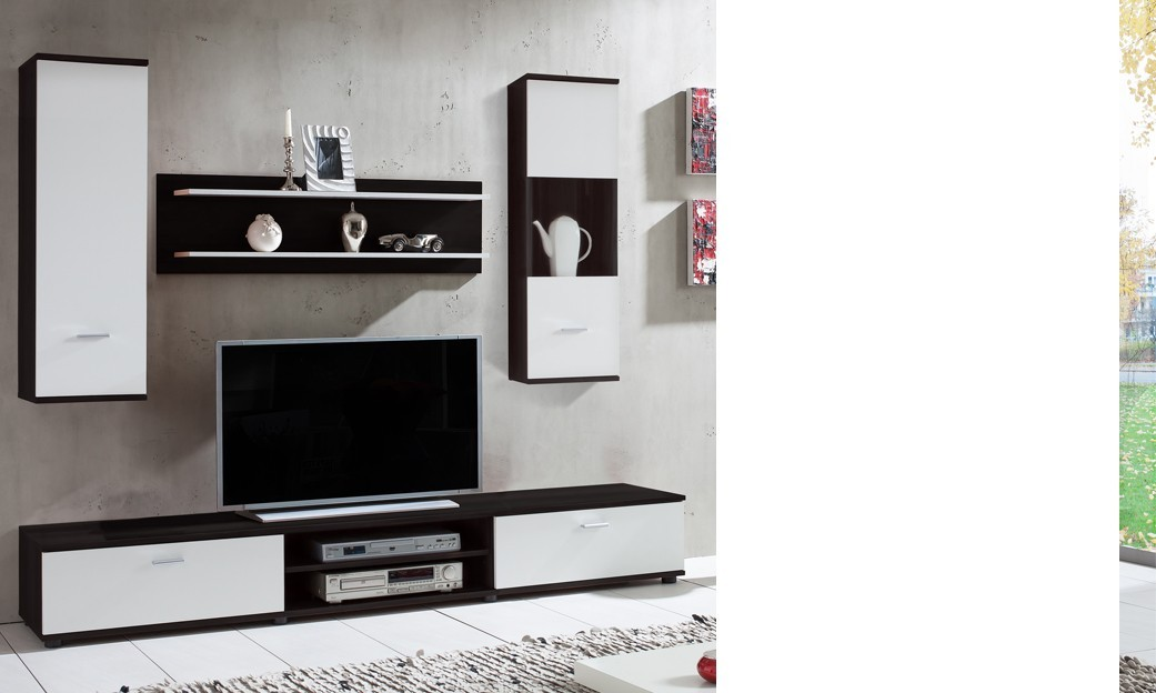 ensemble meuble tv mural noir et blanc juno. Black Bedroom Furniture Sets. Home Design Ideas