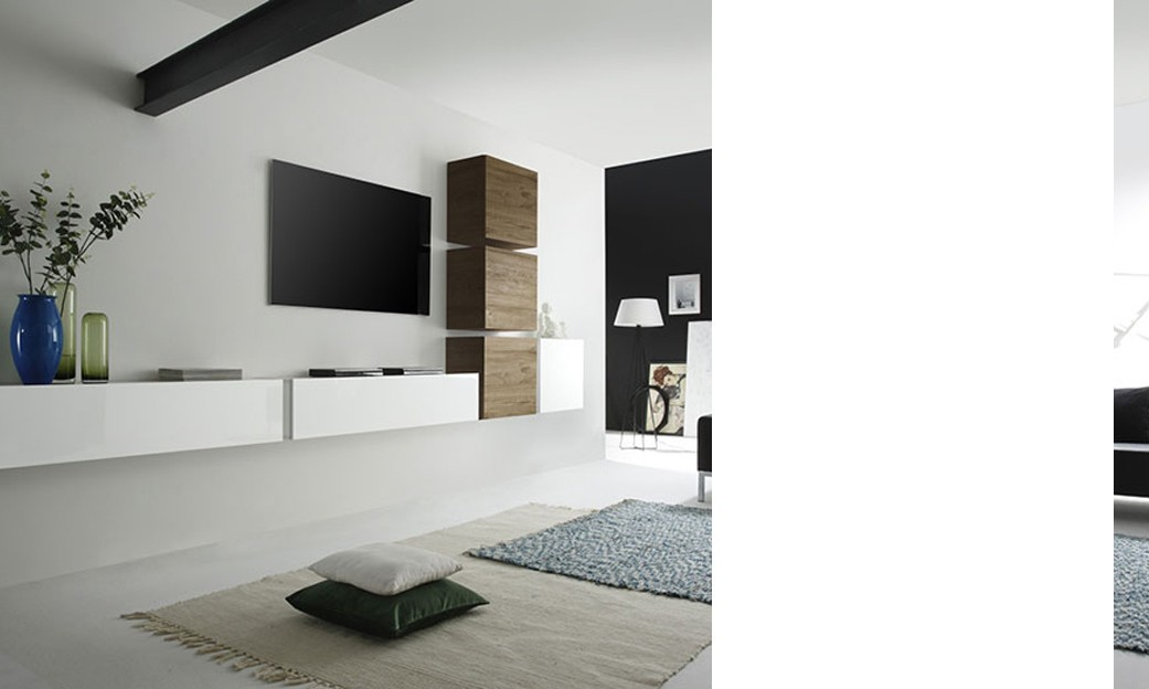 Ensemble TV mural contemporain LOUDEAC 2, coloris blanc brillant et miel