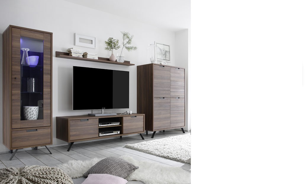 ensemble meuble tv contemporain couleur bois fonc lenexa. Black Bedroom Furniture Sets. Home Design Ideas