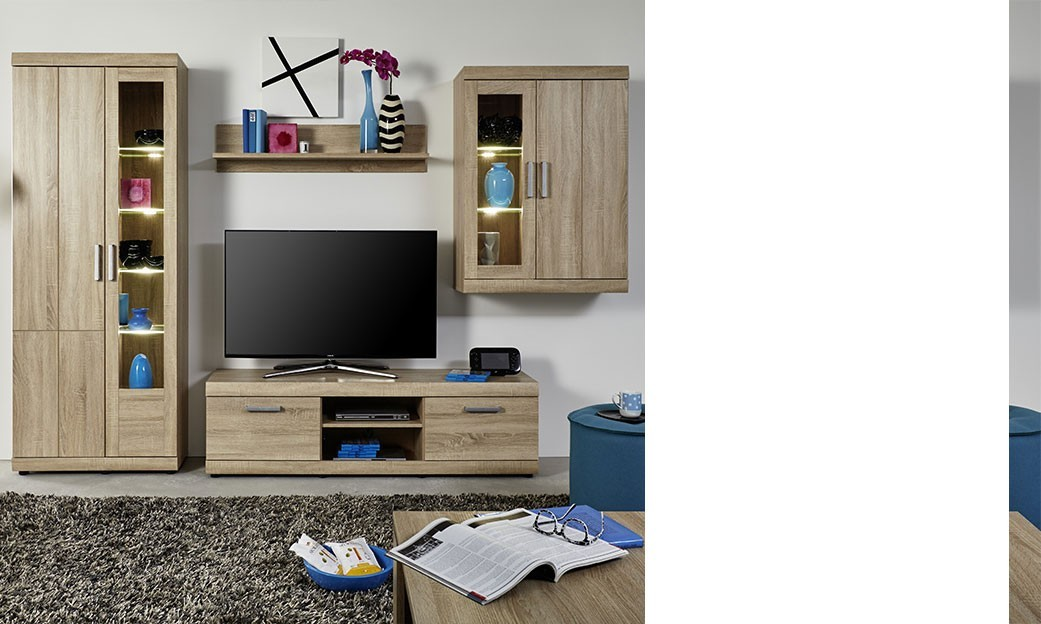 ensemble meuble tv contemporain couleur ch ne clair ferro. Black Bedroom Furniture Sets. Home Design Ideas