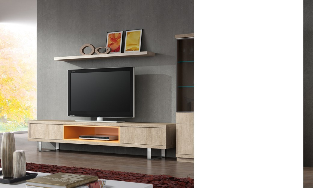 Ensemble TV mural contemporain ADRIANO, coloris pierre & orange
