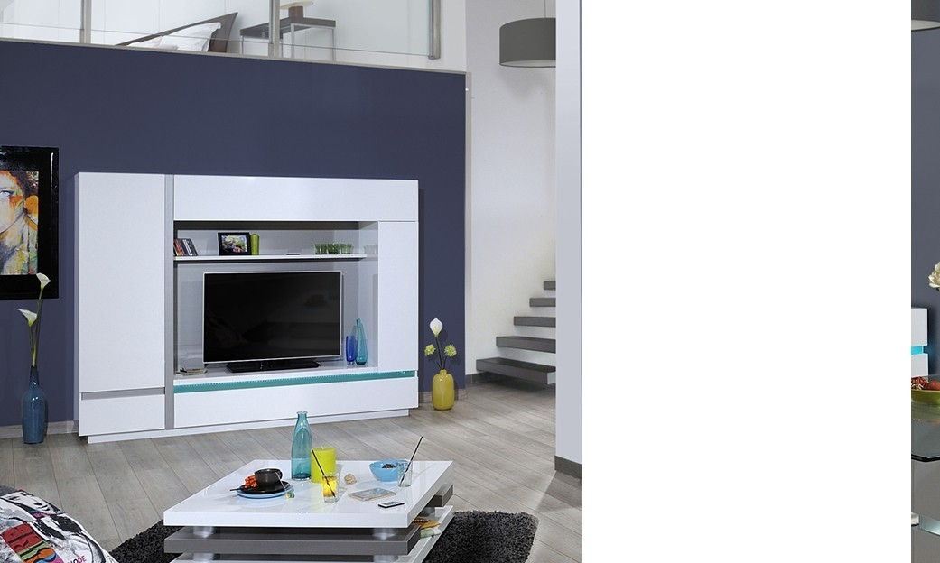 Ensemble tv mural lumineux design cruz laqu blanc et inox bross - Ensemble mural tv design ...