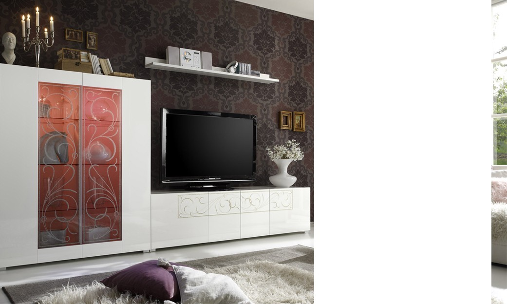 Ensemble tv mural design laqu blanc s rigraphi silka2 - Ensemble mural design ...