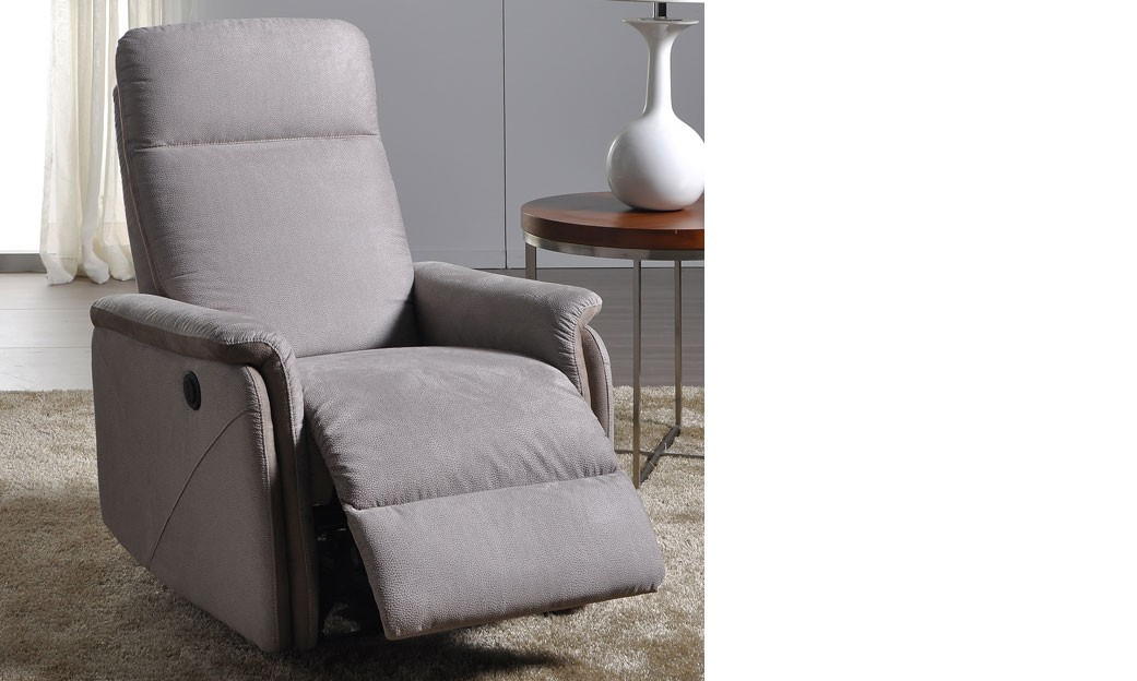fauteuil relax lectrique en tissu gris tula. Black Bedroom Furniture Sets. Home Design Ideas