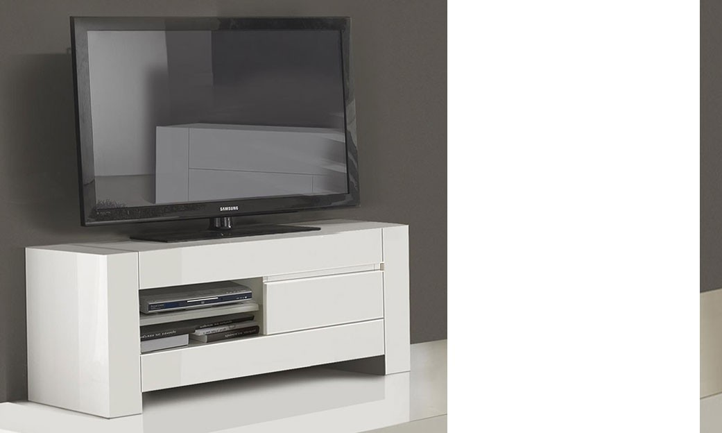 Grand meuble tv design blanc laqu totti for Meuble hifi blanc