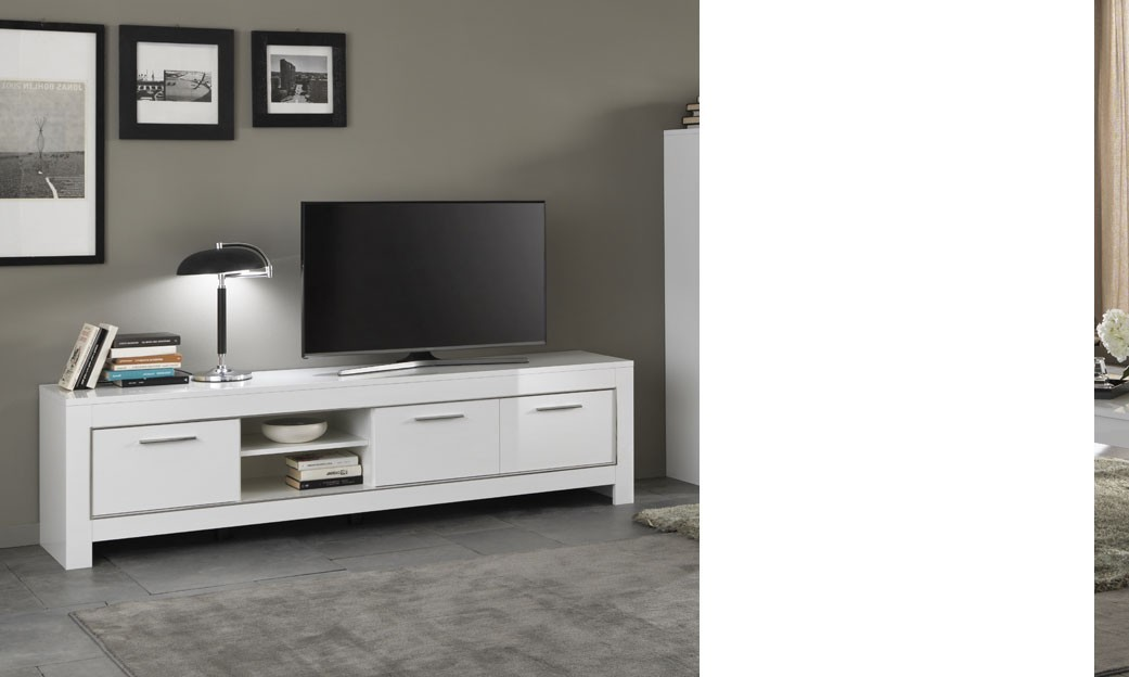 Meuble tv design blanc laqu cavalli ensemble meuble tv for Grand meuble tv blanc laque