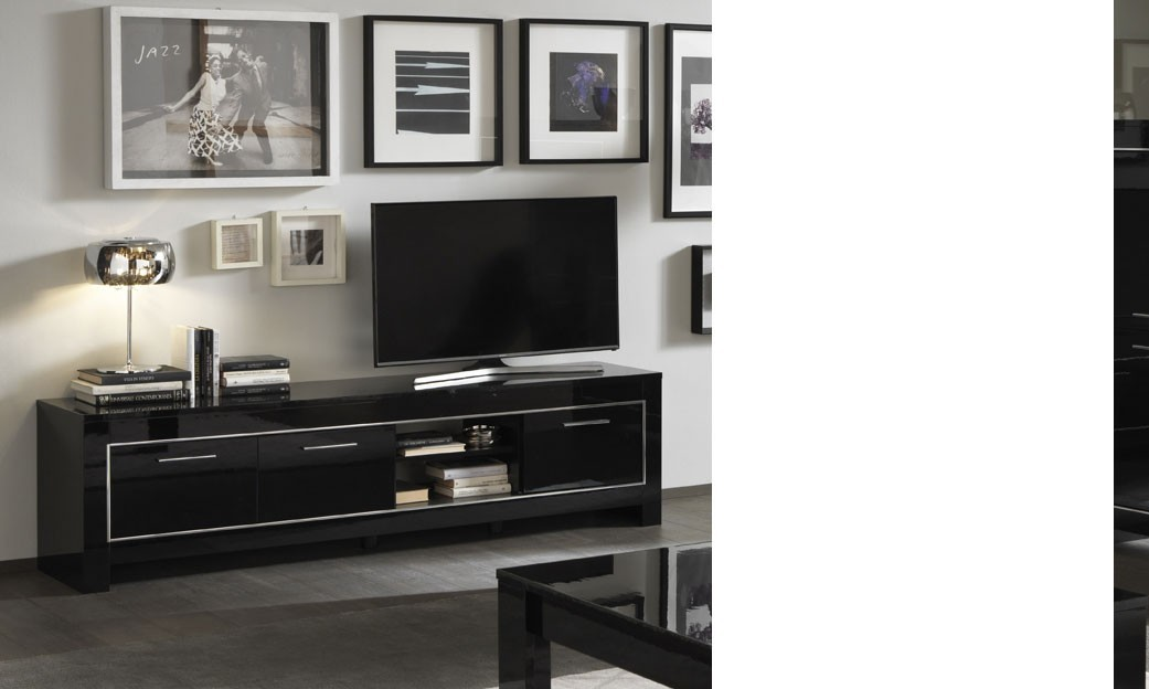 Grand Meuble Tv Design : Grand Meuble Tv Noir Laqué Design Traviata 4