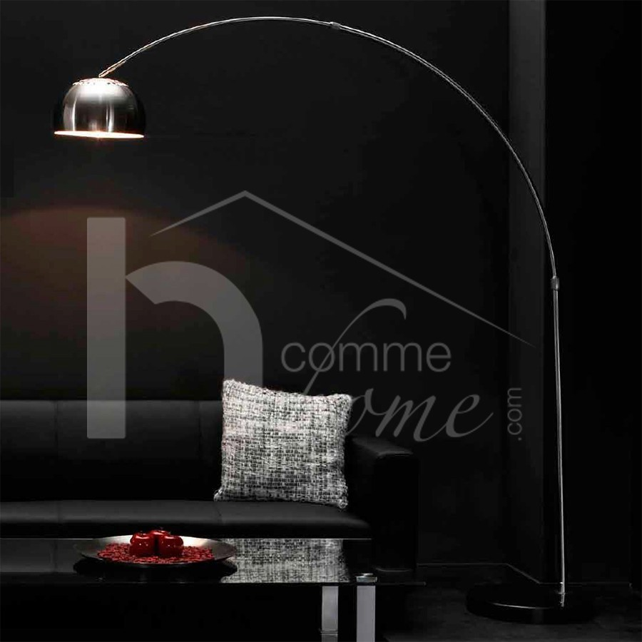 Lampadaire arc design chrome kima zd1 lamp d for Lampadaire interieur design