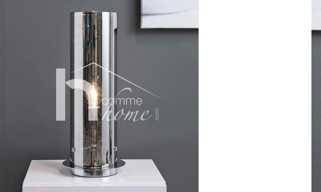 Lampe à poser design en verre et nickel chromé ORION