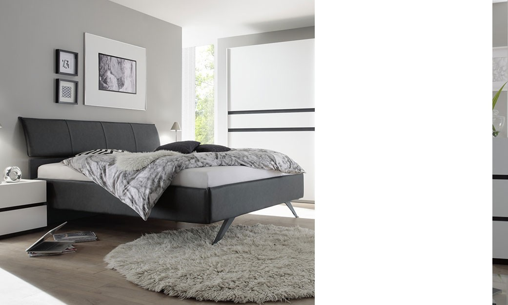 lit capitonn gris 2 personnes mariela. Black Bedroom Furniture Sets. Home Design Ideas