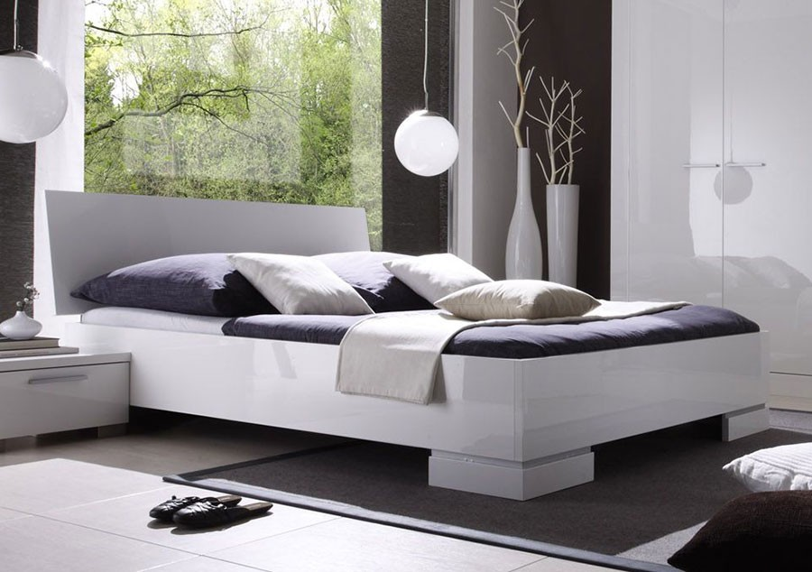 lit adulte blanc laqu. Black Bedroom Furniture Sets. Home Design Ideas