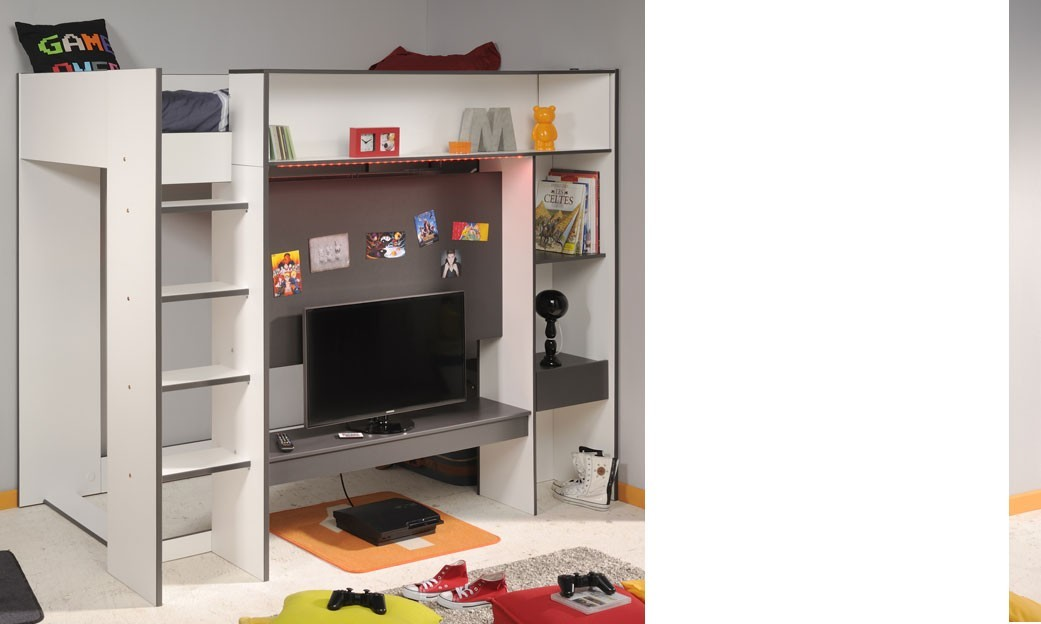 lit enfant ado combin et connect avec support tv gris et. Black Bedroom Furniture Sets. Home Design Ideas