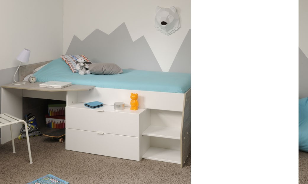 lit sur lev combin enfant ado mixte couleur gris et blanc lilou. Black Bedroom Furniture Sets. Home Design Ideas