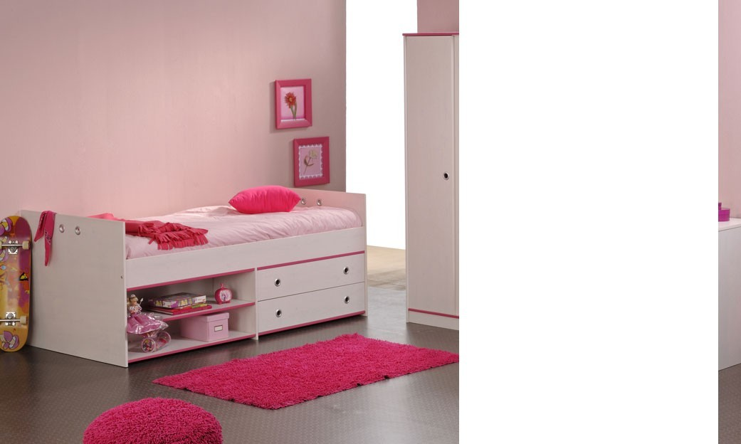 grand lit blanc enfant mixte r versible rose ou bleu camille. Black Bedroom Furniture Sets. Home Design Ideas