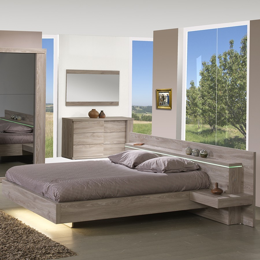 Lit lumineux moderne preston for Meuble chambre adulte contemporain