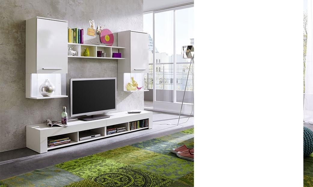Ensemble de meubles TV blanc design BASTRA