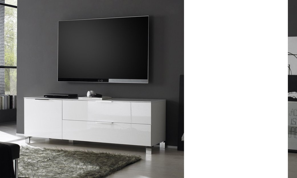 Meuble tv design casa coloris blanc laqu for Meuble blanc laque salon
