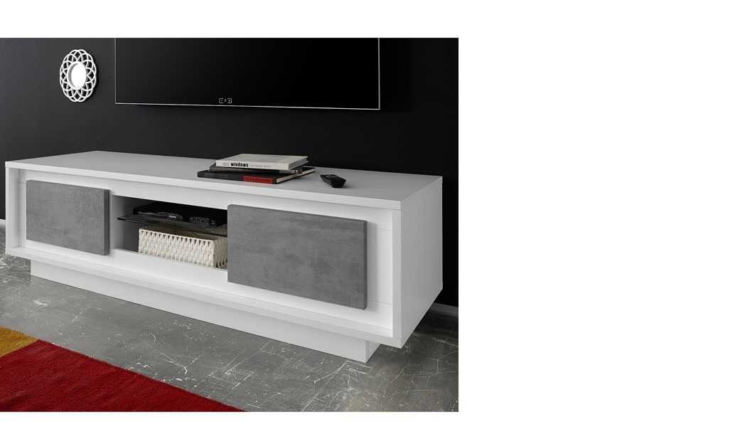 banc tv laqu blanc fly meuble tv blanc laqu mat et bton. Black Bedroom Furniture Sets. Home Design Ideas