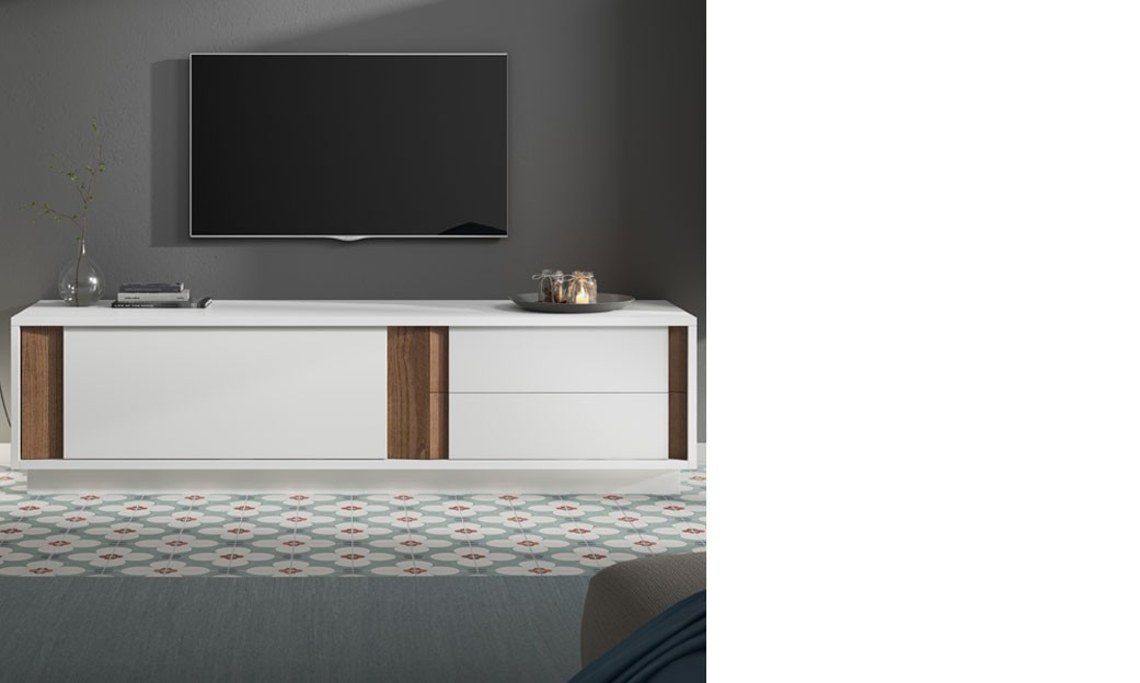 meuble tv design blanc laqu mat et couleur bois fonc. Black Bedroom Furniture Sets. Home Design Ideas