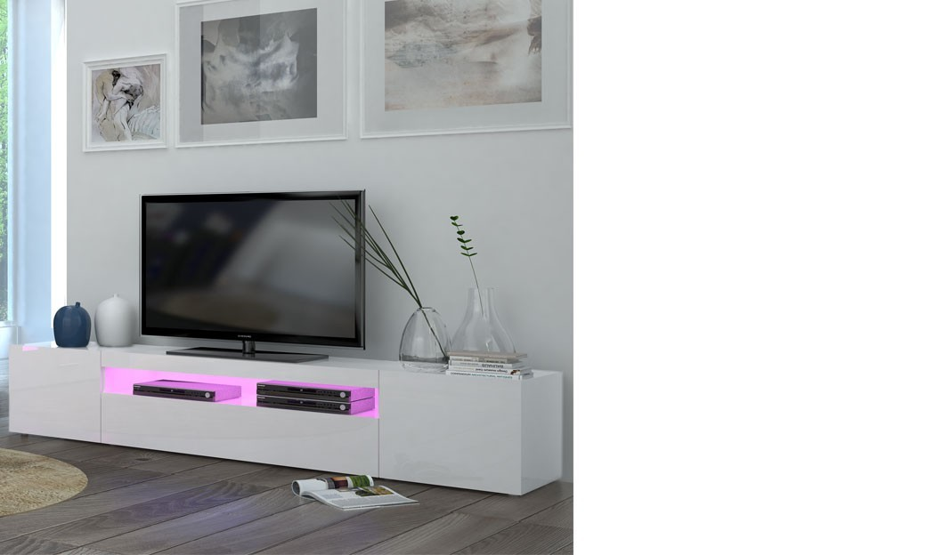 Meuble tv blanc laqu design avec led galena 2 for Meuble tv 100 cm blanc laque