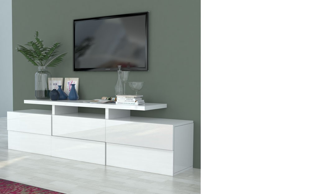 Meuble tv blanc laqu design betty for Meuble tv bas blanc laque
