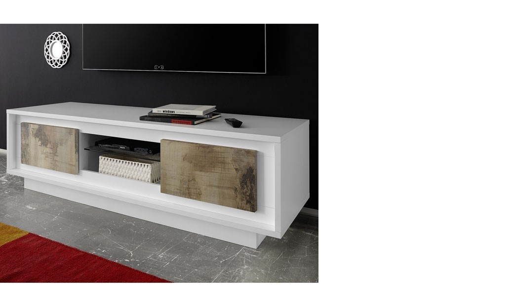 Meuble tv blanc laqu mat moderne colorado for Meuble tv bois blanc