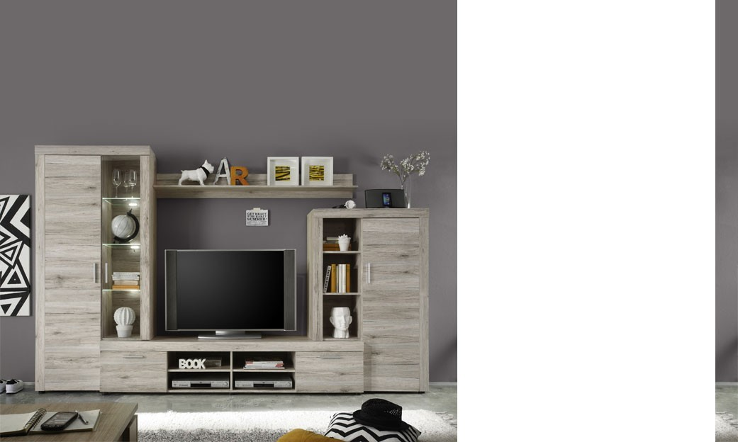 Ensemble de meubles TV teinte bois contemporain DENDY