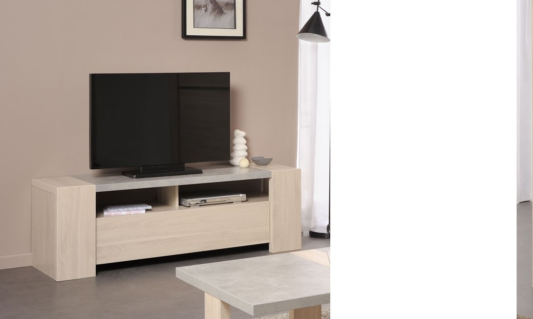 meuble tv moderne couleur ch ne et b ton clair charlie. Black Bedroom Furniture Sets. Home Design Ideas