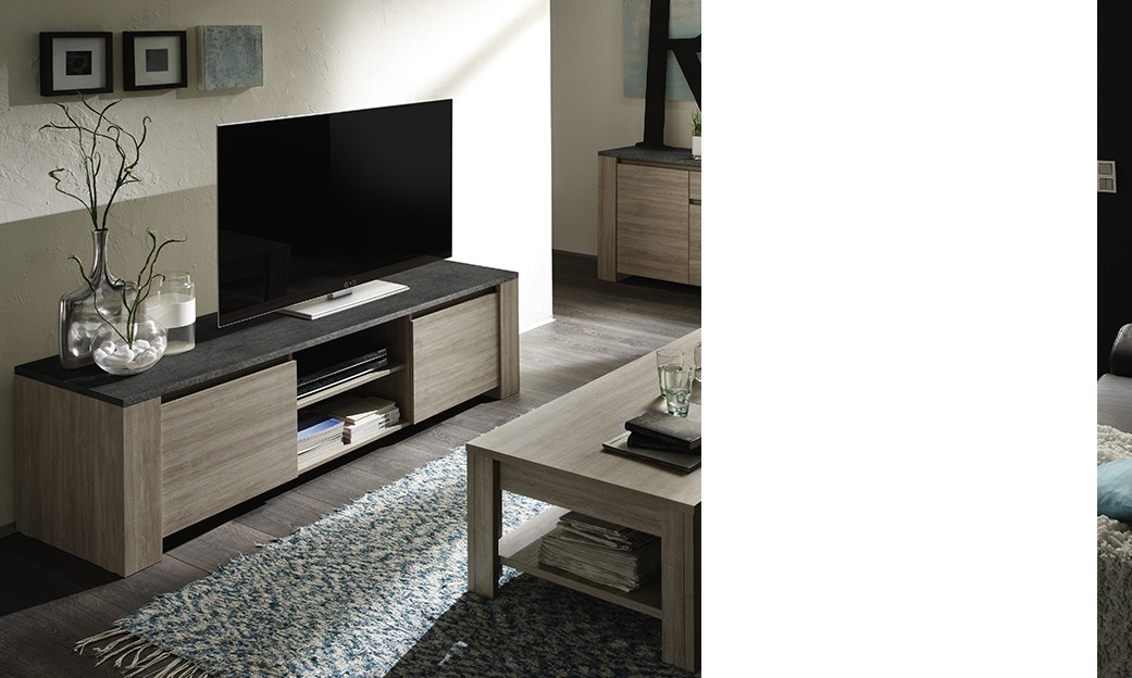 meuble tv contemporain argeles ii 2 portes 2 niches coloris ch ne gris imitation ardoise. Black Bedroom Furniture Sets. Home Design Ideas