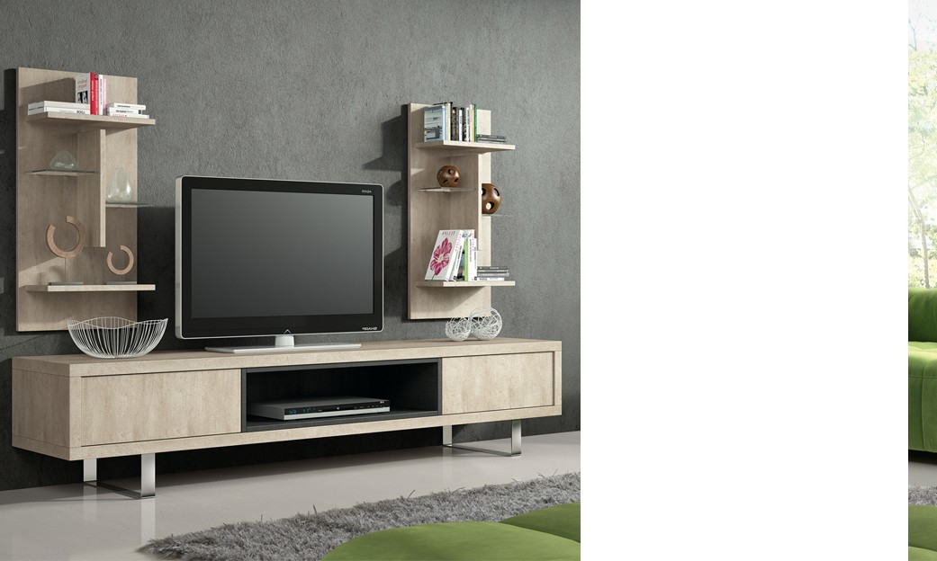 Meuble TV HI-FI contemporain DAMOCLES, coloris Pierre