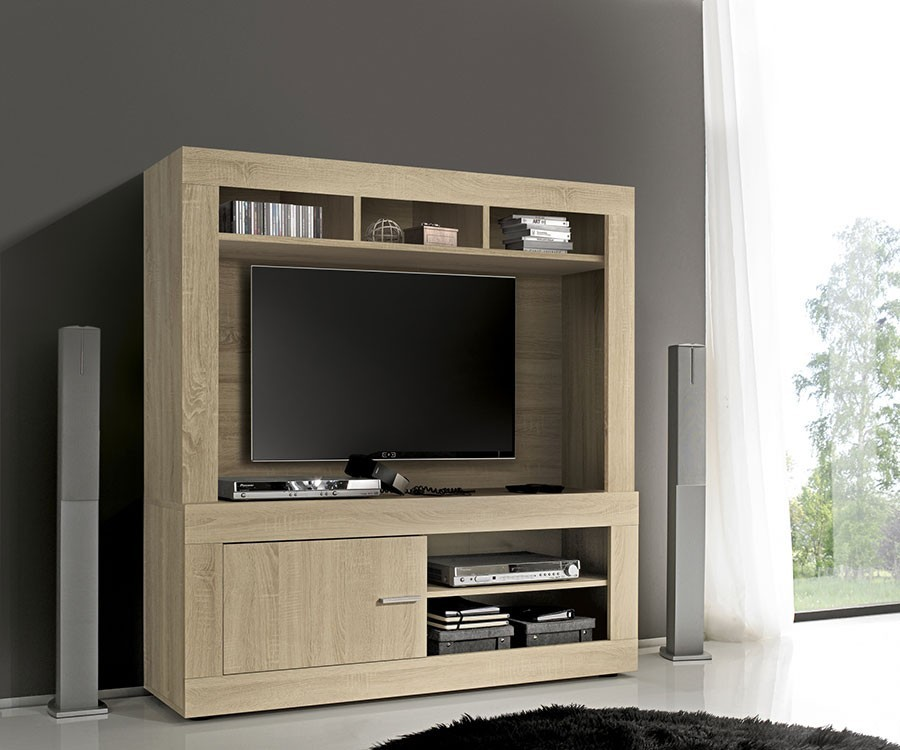 meuble tv couleur bois romina. Black Bedroom Furniture Sets. Home Design Ideas