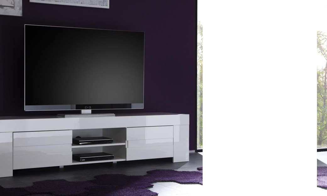 Meuble tv blanc laque design for Meuble cache tv