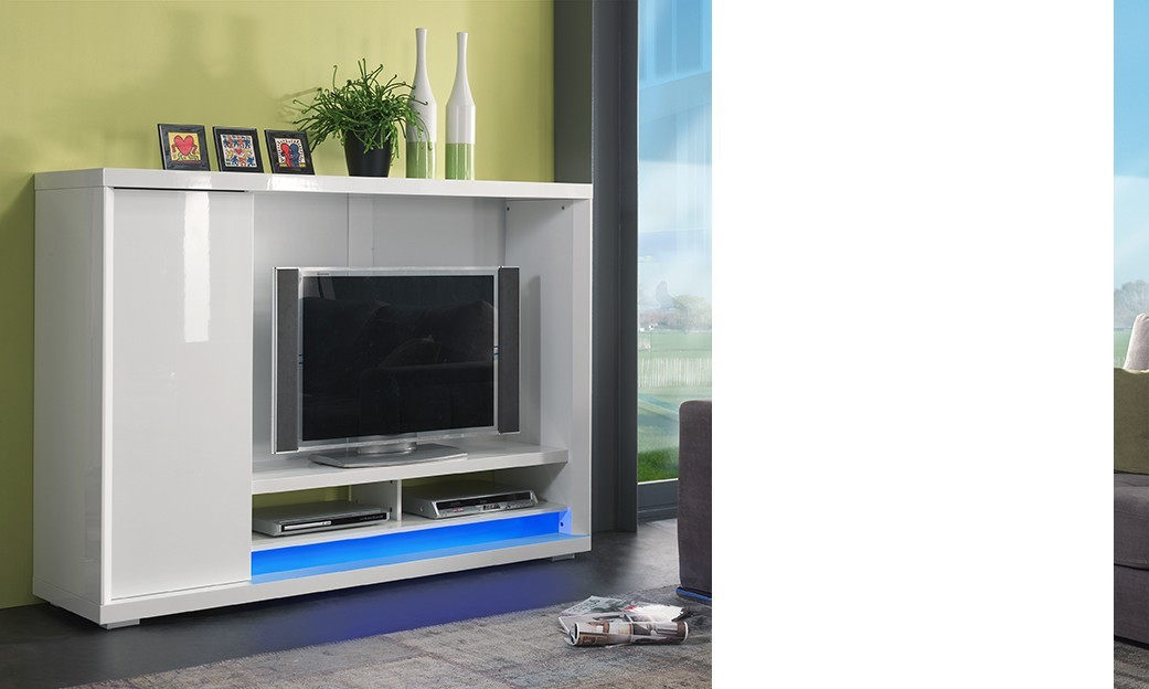 Meuble bas blanc laque maison design for Meuble bas tv blanc laque