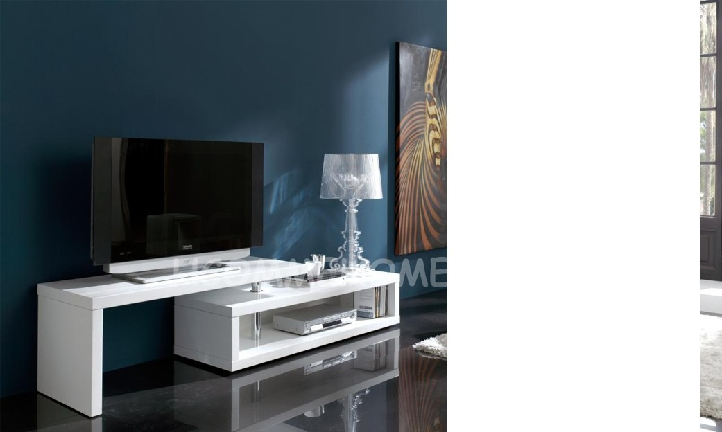 Meuble tv design laqu blanc extensible ofelia for Grand meuble tv design