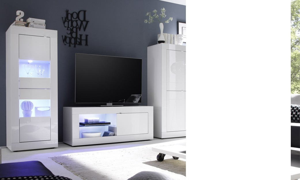 meuble tv lumineux laqu blanc design focus. Black Bedroom Furniture Sets. Home Design Ideas