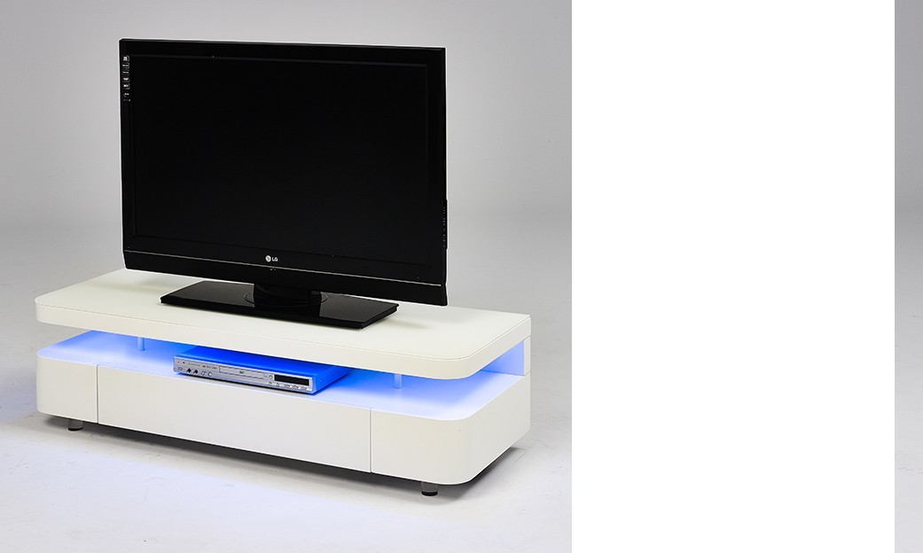 Meuble tv laque blanc avec led for Meuble bas tv led