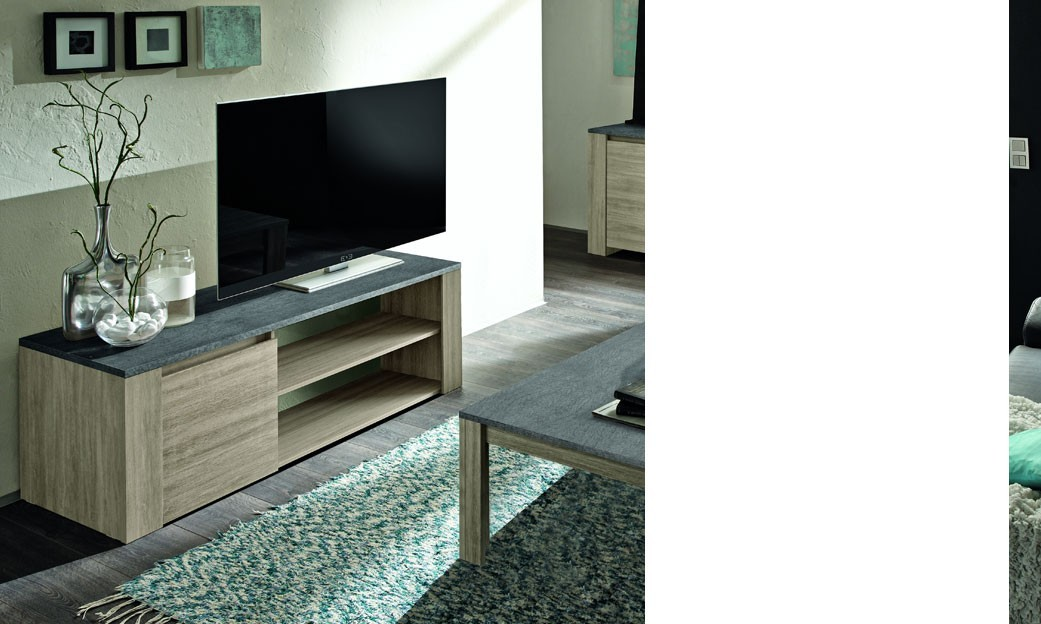 petit meuble tv ch ne gris et d cor ardoise argeles ii. Black Bedroom Furniture Sets. Home Design Ideas