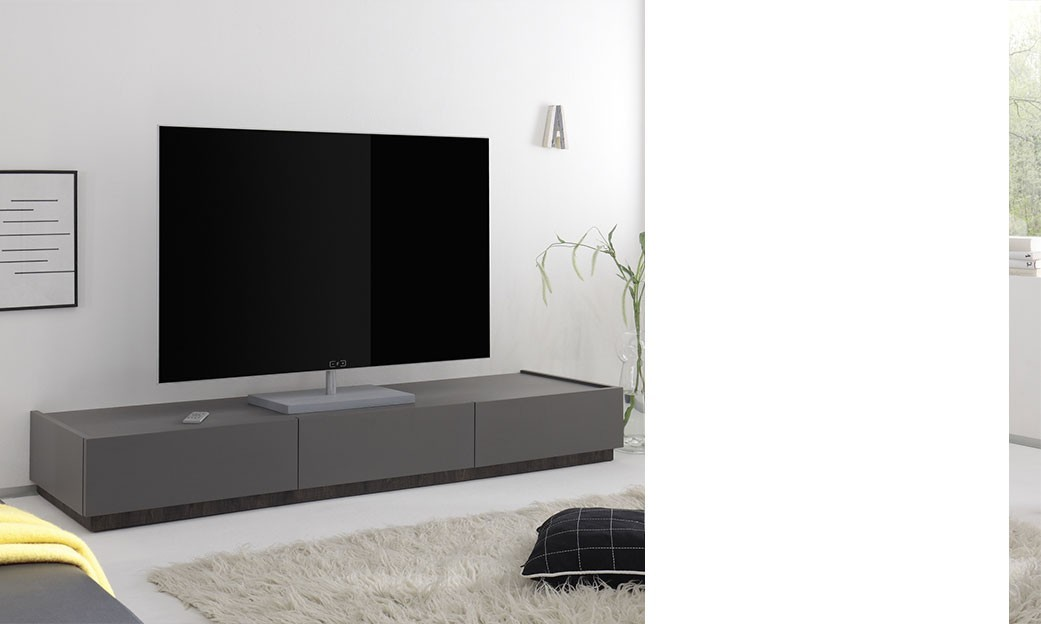 banc tv blanc ou gris laqu mat 3 tiroirs brick 3. Black Bedroom Furniture Sets. Home Design Ideas