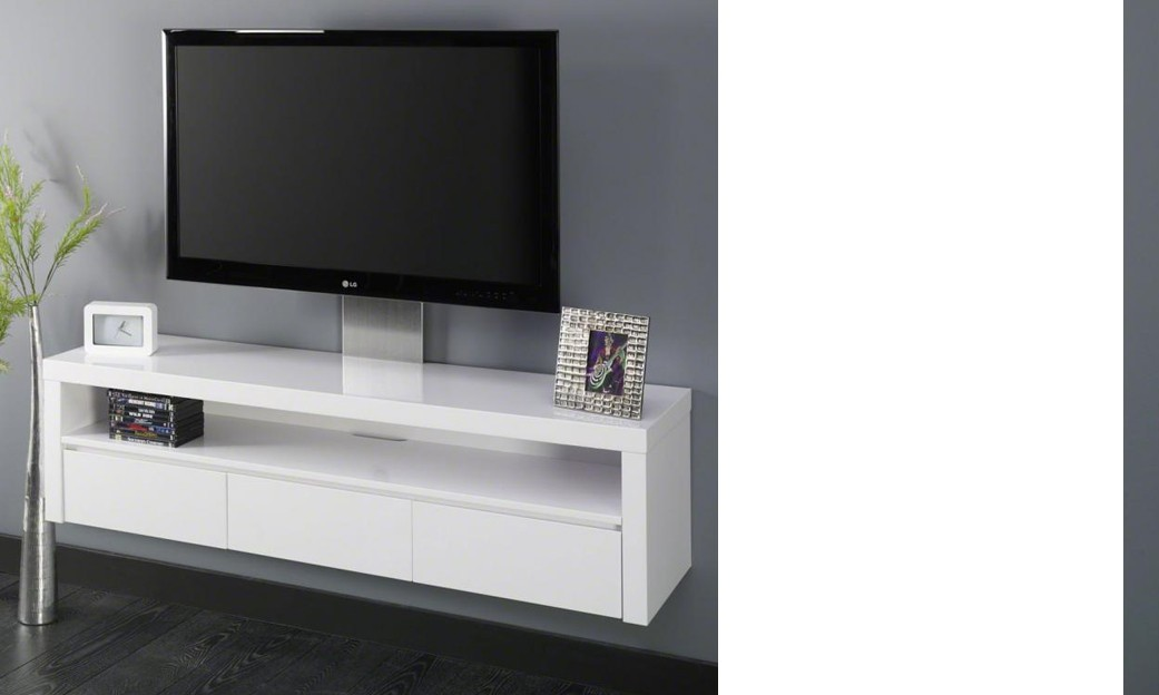 Meuble tv suspendu blanc maison design for Meuble tv suspendu 120 cm