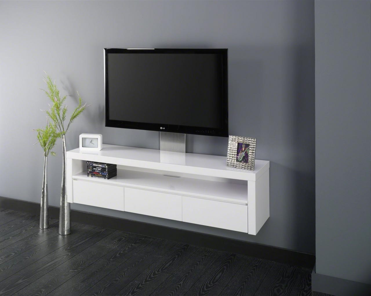 meuble tv suspendu blanc laque serena zd1 m tv d. Black Bedroom Furniture Sets. Home Design Ideas