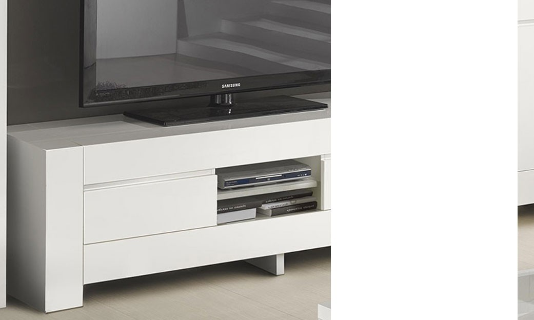 Grand meuble tv design blanc laqu totti - Meuble hifi blanc ...