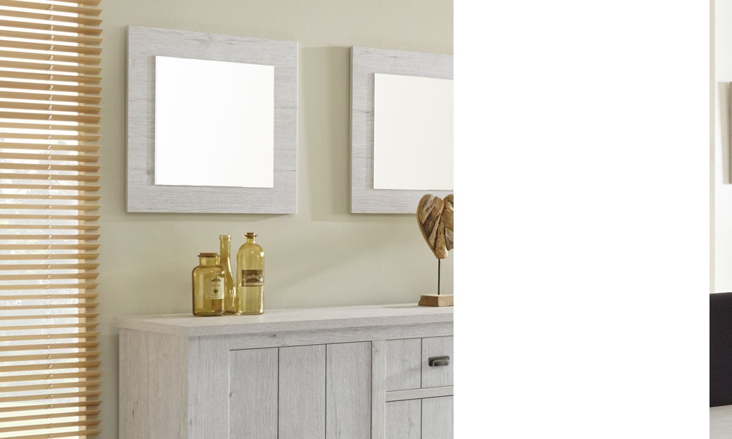 miroir carr contemporain couleur bois blanc hodor. Black Bedroom Furniture Sets. Home Design Ideas