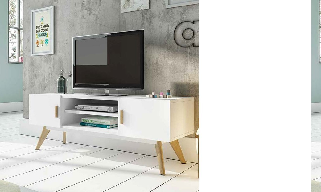 meuble tv contemporain oscar coloris blanc semi mat et ch ne huil. Black Bedroom Furniture Sets. Home Design Ideas