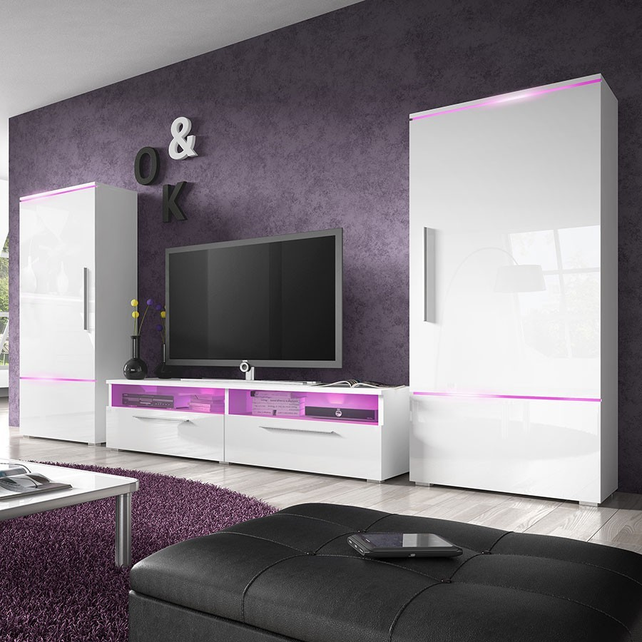 meuble tv design led blanc laque harris solutions pour. Black Bedroom Furniture Sets. Home Design Ideas