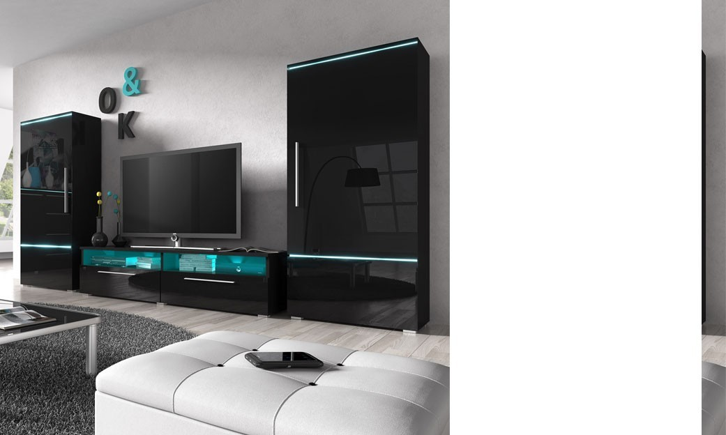 meuble tv san francisco laque blanc brillant solutions. Black Bedroom Furniture Sets. Home Design Ideas
